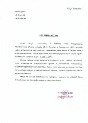 List referencyjny - Tyczyn